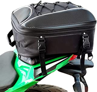 osea Motorcycle Tail Bag, Dual Use Motorcycle Seat Bag with Waterproof Rain Cover Expandable Luggage Storage Bag