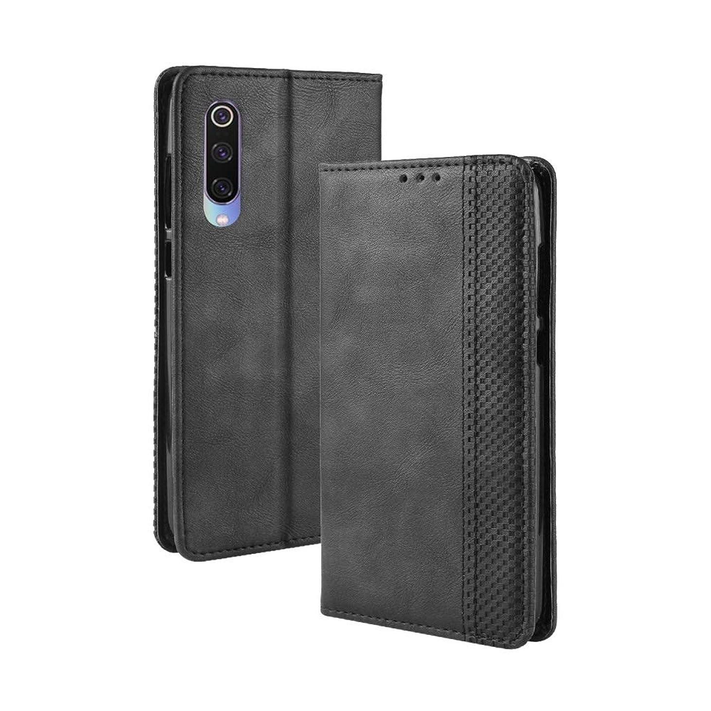 ディプロマ複製進化するホルダー&カードスロット&財布と小米科技ミ9、磁気バックルレトロな質感水平フリップレザーケース brand:TONWIN (Color : Black)