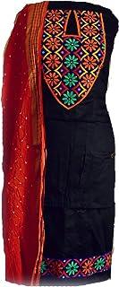 KATHIWALAS Women's Cotton Silk Kutch Work Bandhani/Bandhej Unstitched Dress Material Suit (BLACK, ORANGE, Free Size)