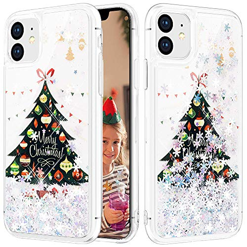 Caka Christmas Case for iPhone 11 Glitter Case Christmas Liquid Bling Sparkle Luxury Flowing Floating Shining Glitter Snowflake Soft TPU for Girls Women Silver Case for iPhone 11 (6.1 inch) (Tree)