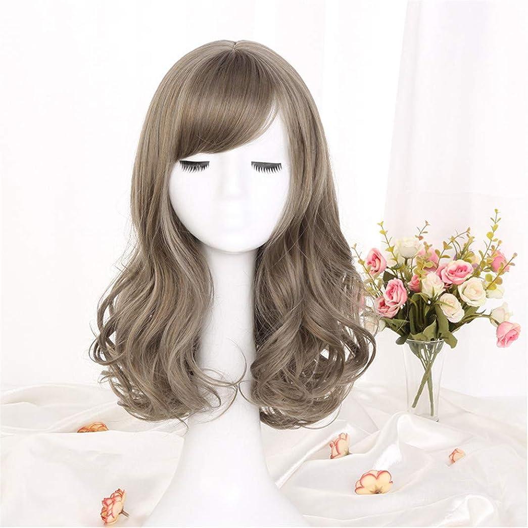 サスペンション一族棚ウィッグ髪化学繊維フードミディアム長波高温合成繊維ウィッグ女性用ウィッググリーンウッドリネンアッシュ42cm