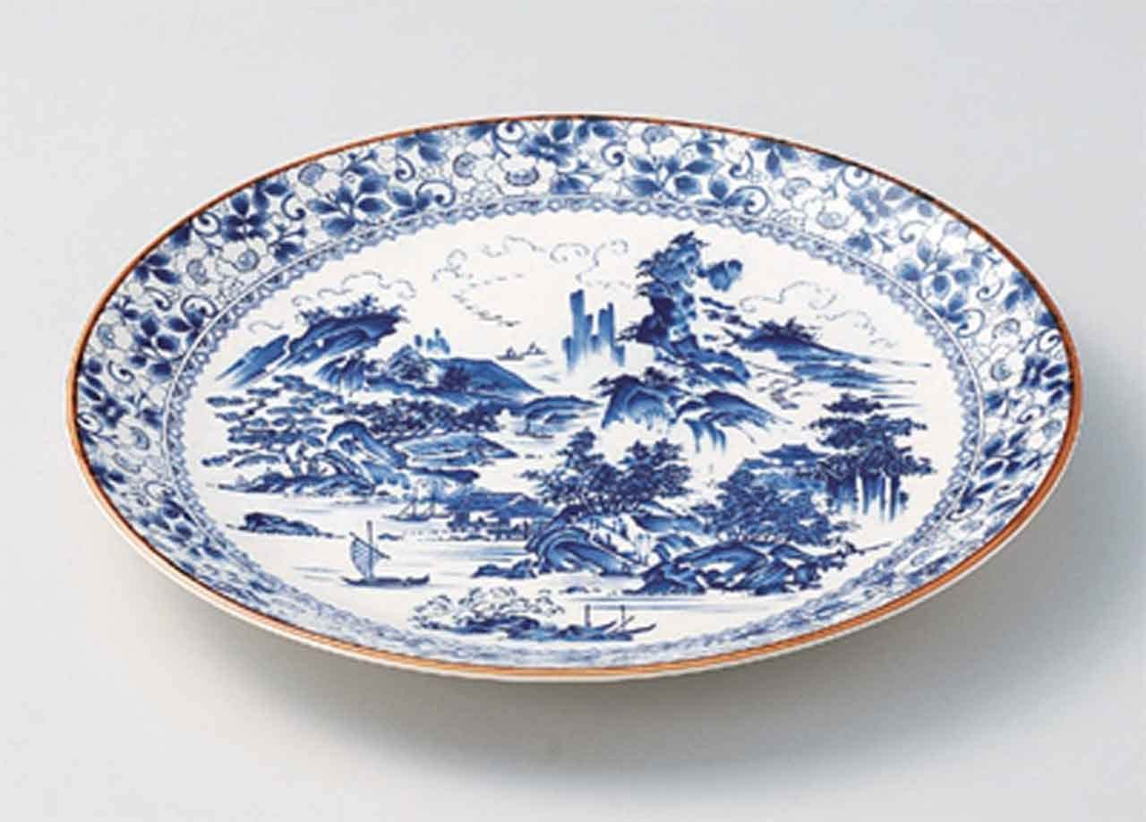 Direct store Shin Sansui 14.6inch Set of Max 44% OFF 2 porcelain Plates Made Jap in Large
