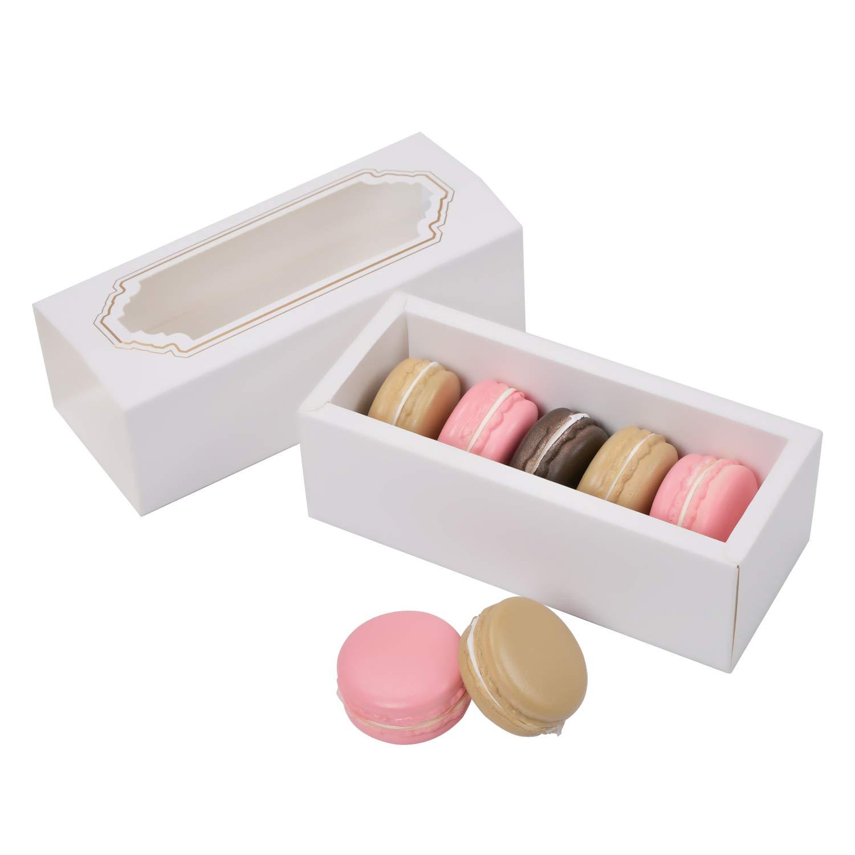 Macaron Cajas para 5 a 6 con ventana transparente 15 unidades, macarons blanco caja de embalaje de regalo Kit con rejilla para trufas de chocolate pastel postres mini magdalenas o magdalenas: Amazon.es: