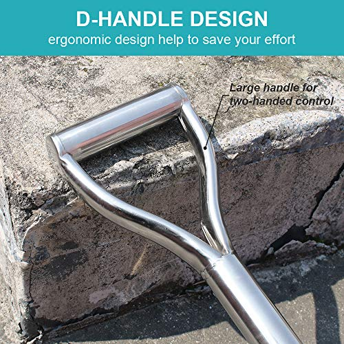 31.5 Inch Flat Head Garden Shovel, D Handle Square Flat Spade Shovel for Gardening, All Stainless Steel Made