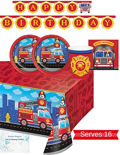 Fire Truck Party Supplies - Plates, Napkins, Cups, Tablecloth and Banner for 16 People - Firefighter Party Decorations - Perfect for Fireman Birthday Party!
