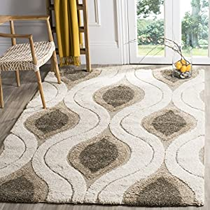 SAFAVIEH Florida Shag Collection SG461 Modern Ogee Non-Shedding Living Room Bedroom Dining Room Entryway Plush 1.2-inch Thick Area Rug, 3'3″ x 5'3″, Cream / Smoke