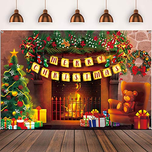 72.8 x 43.3 Inch Christmas Backdrop Large Fabric Fireplace Burning Vintage Retro Photography Background Backdrop for Christmas Winter Party Decoration