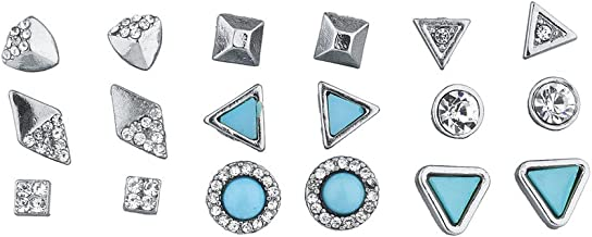 Lux Accessories Silver Tone and Turq Stone Geo Pave Multi Earring Set 9PCS