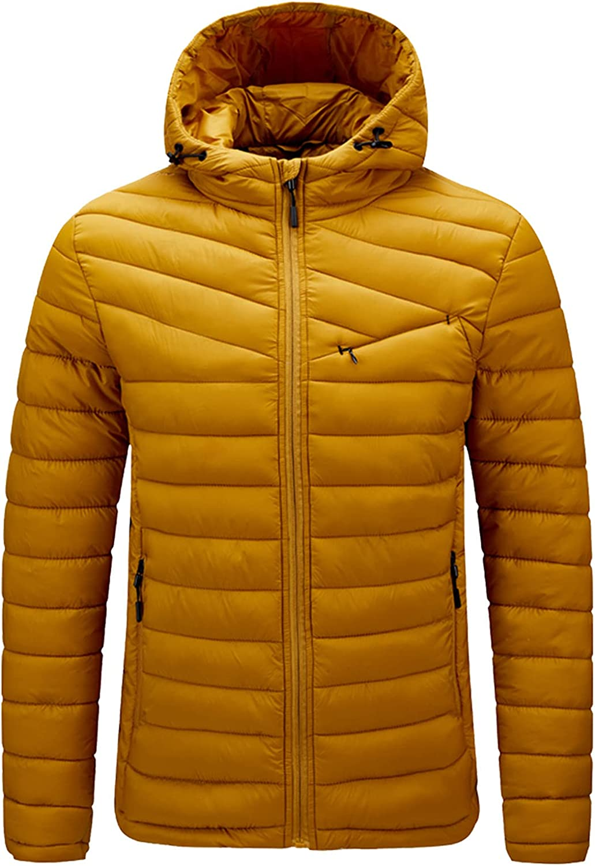 Beshion Winter Coats for Men Casual Solid Zipper up Long Sleeve Hooded Puffer Jacket Parkas Lightweight Warm Coat