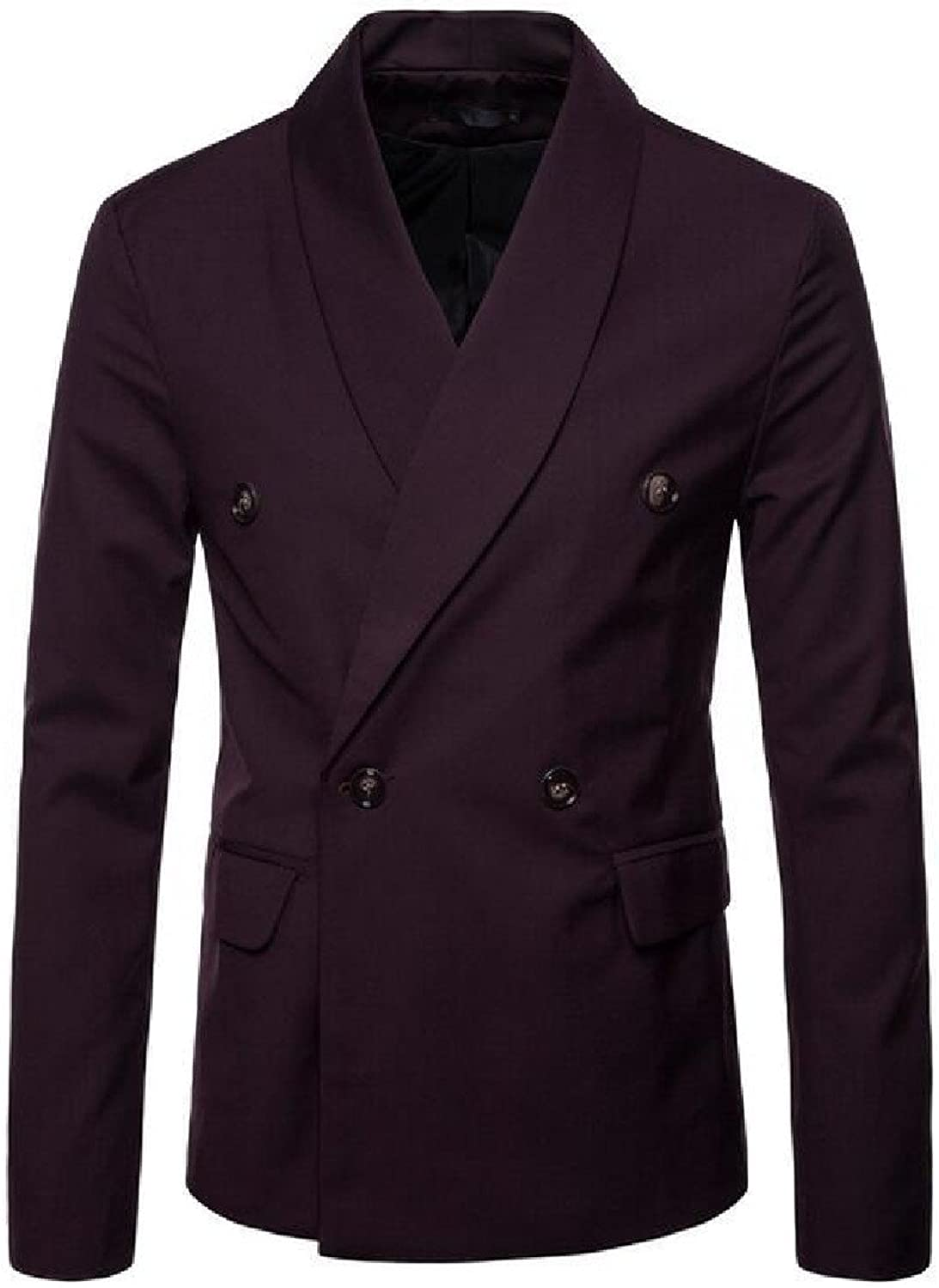 FieerMen Flat Collar Splicing with Pockets Pure color Business Office Suits