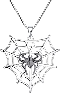 Spider Necklace 925 Sterling Silver Black Widow Tarantula Web Charms Pendant Cobweb Halloween Jewelry