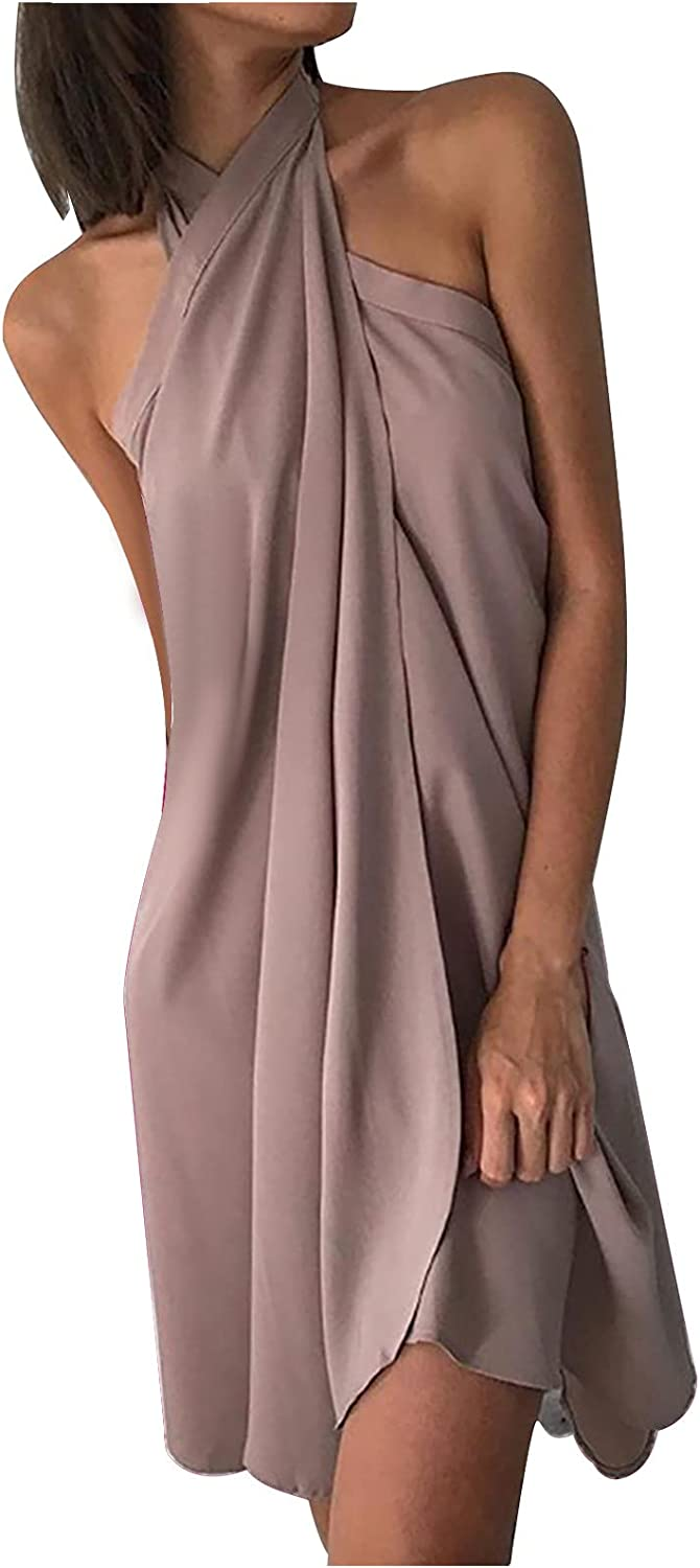 Solid Dress for Women Casual Summer Sexy Halter Backless Dress Self Tie Beach Short Midi Sundress Party Cocktail