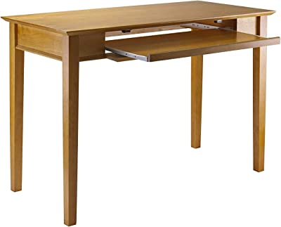 Wooden Computer Desk with Slide Out Keyboard Tray, Stylish Accent Pc Laptop Table, Home Office Furniture Writing Study Desk with Classy and Traditional Appearance, Light Brown
