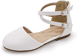 PANDANINJIA Toddler/Girl's Amanda Mary Jane Ballet Flats Ankle Strap Ballerina Dress Shoes Flat Sandals