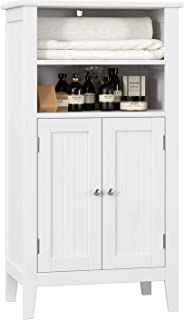 HOMFA Bathroom Floor Cabinet Wooden Storage Organizer with Double Doors Adjustable Shelf Free Standing Kitchen Cupboard for Home Office, 19.6L x 11.8W x 36.2H White
