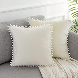 Best WLNUI Set of 2 Soft Velvet Ivory White Pillow Covers 18x18 Inch Square Decorative Cute Pom Poms Throw Pillow Covers Cushion Case for Sofa Couch Home Farmhouse Decor Review