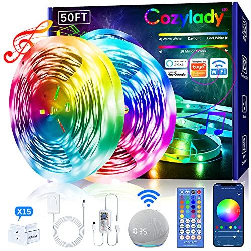 Cozylady Alexa LED Strip 15m , Smart APP Steuerbar Musik LED Lichterkette kompatibel mit Alexa, Google Assistant, Farbwechsel LED Streifen, 5050 RGB LED Leiste mit Netzteil und Fernbedienung
