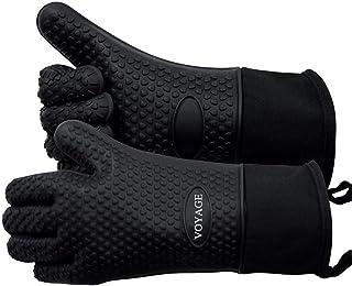 Voyage Premium Ofenhandschuhe 2er Set bis zu 350°C - Silikon Extrem Hitzebeständige Grillhandschuhe BBQ Handschuhe zum Backen, Barbecue, Extra Lange Topfhandschuhe für Extreme SicherheitSchwarz
