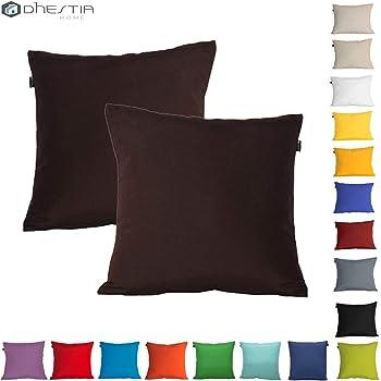 Dhestia Pack X 2 Fundas Cojines Decoración Sofá Y Cama 45X45 Cm Loneta Colores (Marrón Chocolate Brown), 45 X 45 Cm: Amazon.es: Hogar
