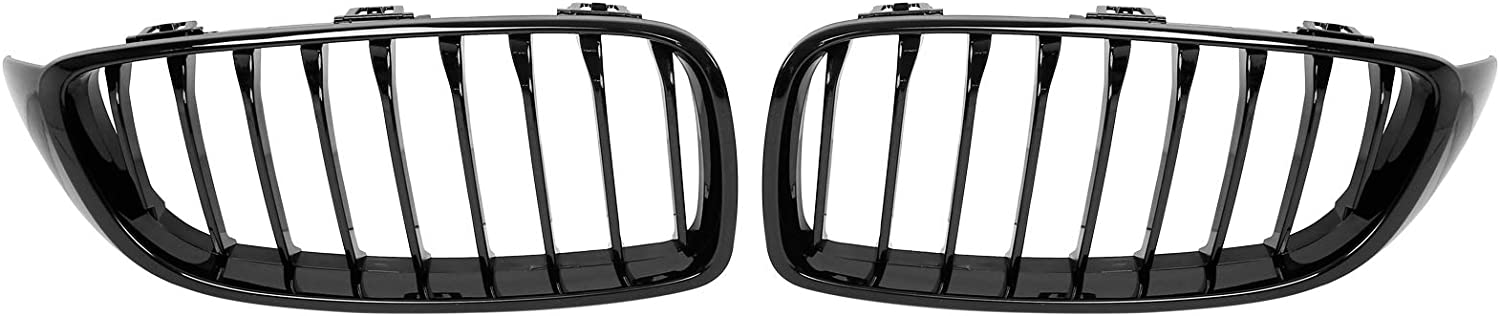 X AUTOHAUX Easy-to-use 1 Pair Glossy Over item handling ☆ Black Hood Grille Kidney Front Bars Car