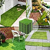 ZEGNEER Interlocking Artificial Grass Tiles 12''x12'' (9 Pack), Outdoor Turf Grass for Dogs Pet, Synthetic Grass Rug for Patio House Decoration Balcony (9 PK)