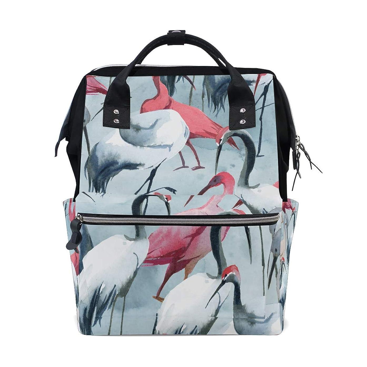 White Pink Crane School Backpack Large Capacity Mummy Bags Laptop Handbag Casual Travel Rucksack Satchel For Women Men Adult Teen Children