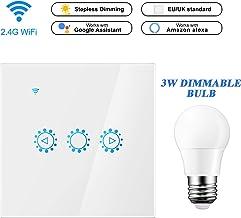 Interruptor wifi con Bombilla Dimmable E27 3W, Interruptor Konesky y Regulador de Intensidad Luz, Control Remoto, Soporte de Temporizador Alexa, Hogar de Google (Requiere Alambre Neutro)