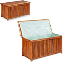 vidaXL Solid Acacia Wood Garden Storage Box Water Resistant Porch Container Deck Chest Cushion Pillow Holder Outdoor Patio...