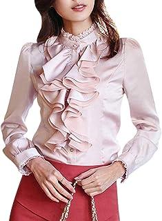 Minetom Moda Blusa para Mujer Elegante Manga Larga Flounced