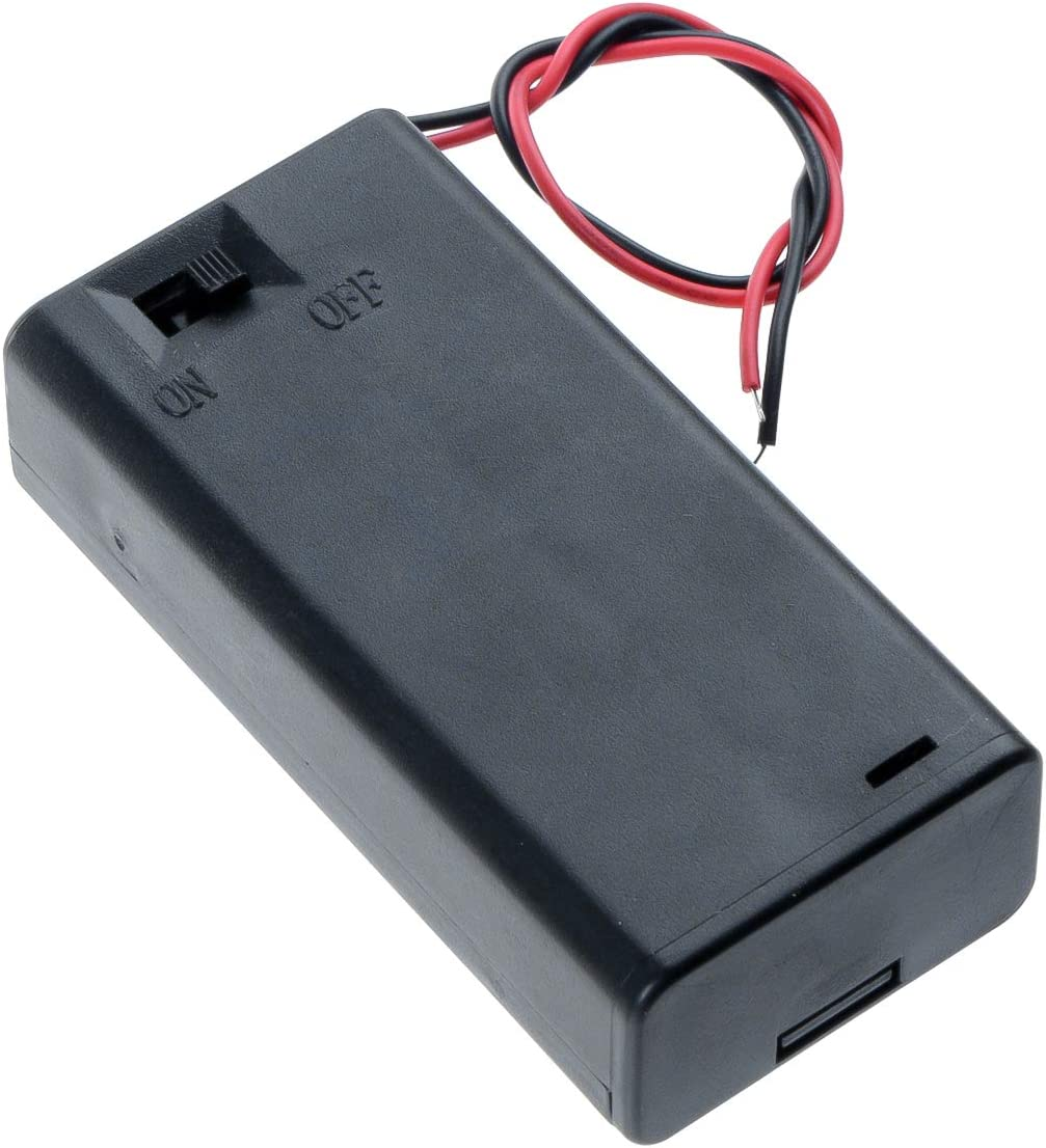 Saim Wire Leads ON/Off Switch 1.5V AA Battery Holder Case w Cover Black