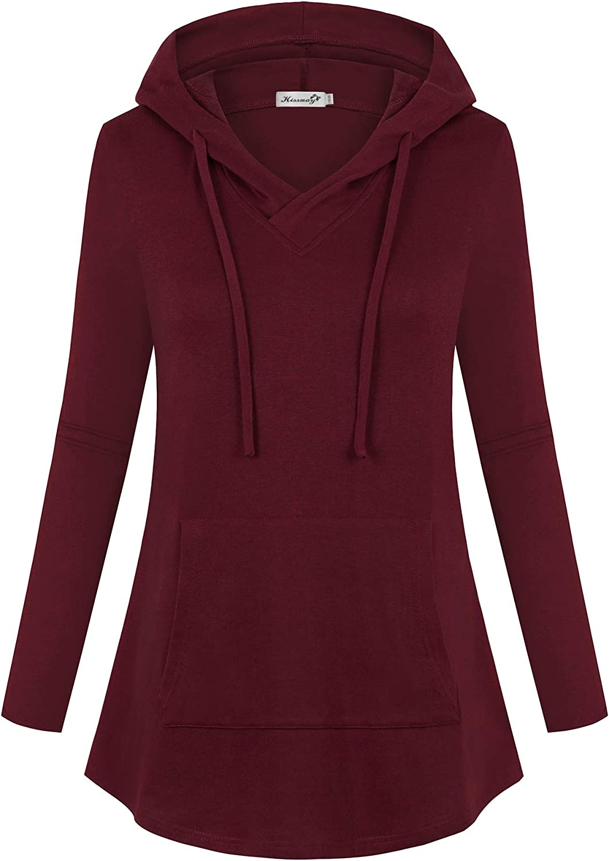 Kissmay Women's Plus Size Hoodies Sweatshirt Long Sleeve V Neck Casual Tunic Top