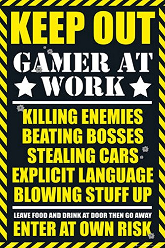 PRINTELLIGENT Gaming Posters. Keep Out Gamer at Work Posters for Boys and Girls (Multicolour, 12 x 18)