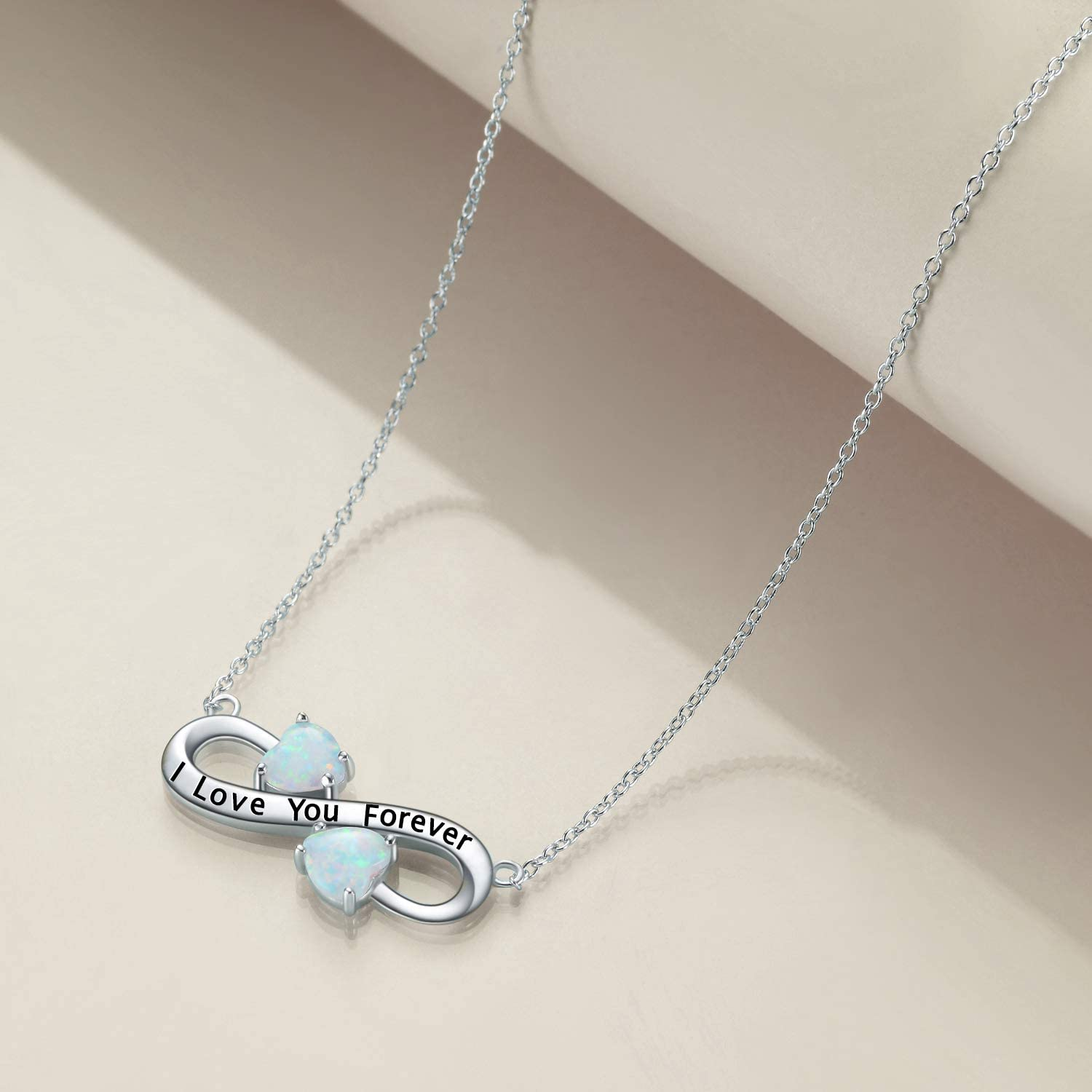 YFN I Love You Forever Sterling Silver Pendant Necklace Birthday Gift Jewelry 18Inch