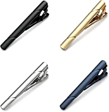MOZETO Tie Clips for Men, 4pcs Fashion Elegant Style Tie Bar Set for Regular Ties, Luxury Package, Gift for Men