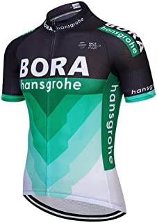 Pro Team Bora Short Sleeve Cycling Jersey Black and Green Breathable Top with Rear Pockets