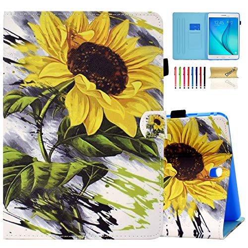 Dteck Case for Samsung Galaxy Tab A Tablet (9.7 Inch, 2015 Release, SM-T550), Slim Lightweight Synthetic Leather Magnetic Stand Wallet Cute Cover Case with Stylus Pen/Pencil Holder (Sunflower)
