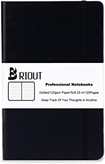 Briout Classic Notebook Journal Hard Cover Dot Grid Writing Notebooks Faux Leather with Inner Pocket 120gsm Thick Paper 128 Pages 5''×8.25''