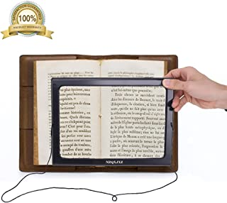 Magnifier Magnifying Glass LED Lighted Illuminated Hands Free Large Rectangular Full Page Foldable3X Desktop Portable for Elder Kids