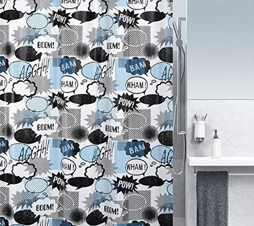 """Spirella Anti-Schimmel Duschvorhang - Anti-Bakteriell, waschbar, wasserdicht - Peva, """"Wow"""" 180x200cm Blau Schwarz"""