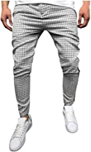 Men's Casual Trouser Striped Splicing Cargo Pants Fashion Business Work Pants with Pockets