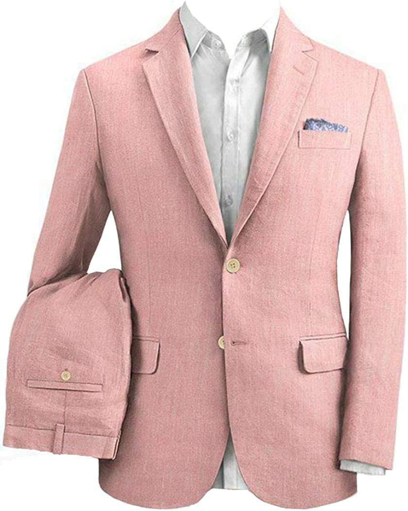 Michealboy Men Linen Suit 2 Pieces Slim Fit Single Breasted Pink Tuxedo for Groom