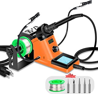 LONOVE Soldering Iron Station Kit � 60W Solder Station 194?-896? Adjustable Temperature, LED Display, Sleep Function, C/F Switch, 2 Helping Hands, 5 Extra Solder Tips & 1 Solder Wire