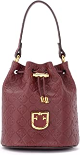 Furla Woman's Furla Corona Mini Bucket Bag In Textured Burgundy Leather Red