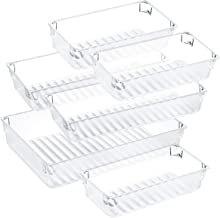 Puroma Desk Drawer Organizer Trays with 3 Different Sizes DIY Makeup Drawer Dividers 6 Bins for Office Dresser Bathroom Bedroom