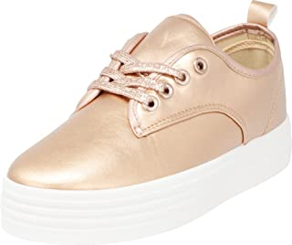 Cambridge Select Women's Round Toe Low Top White Sole Platform Flatform Lace-up Fashion Sneaker