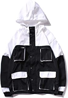 Men's Color Block Windproof Coat Jacket Windbreaker with Hooded