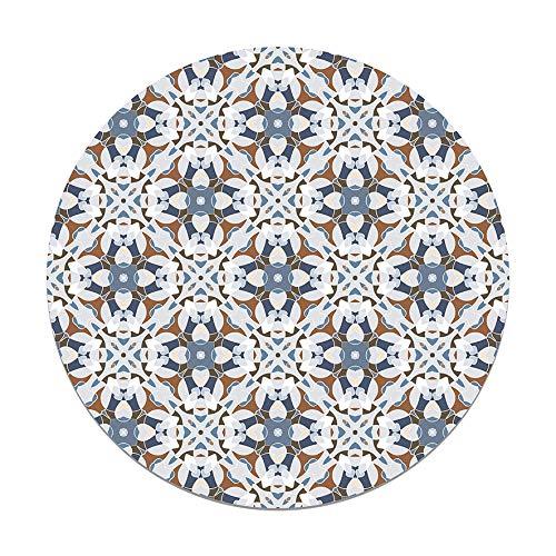 Panorama Alfombra Vinílica Redonda Baldosa Modelo Oriental Azul 150x150 cm - Alfombra Cocina Vinilo - Alfombra Salón Antideslizante e Ignífuga - Alfombras Grandes - Alfombras PVC