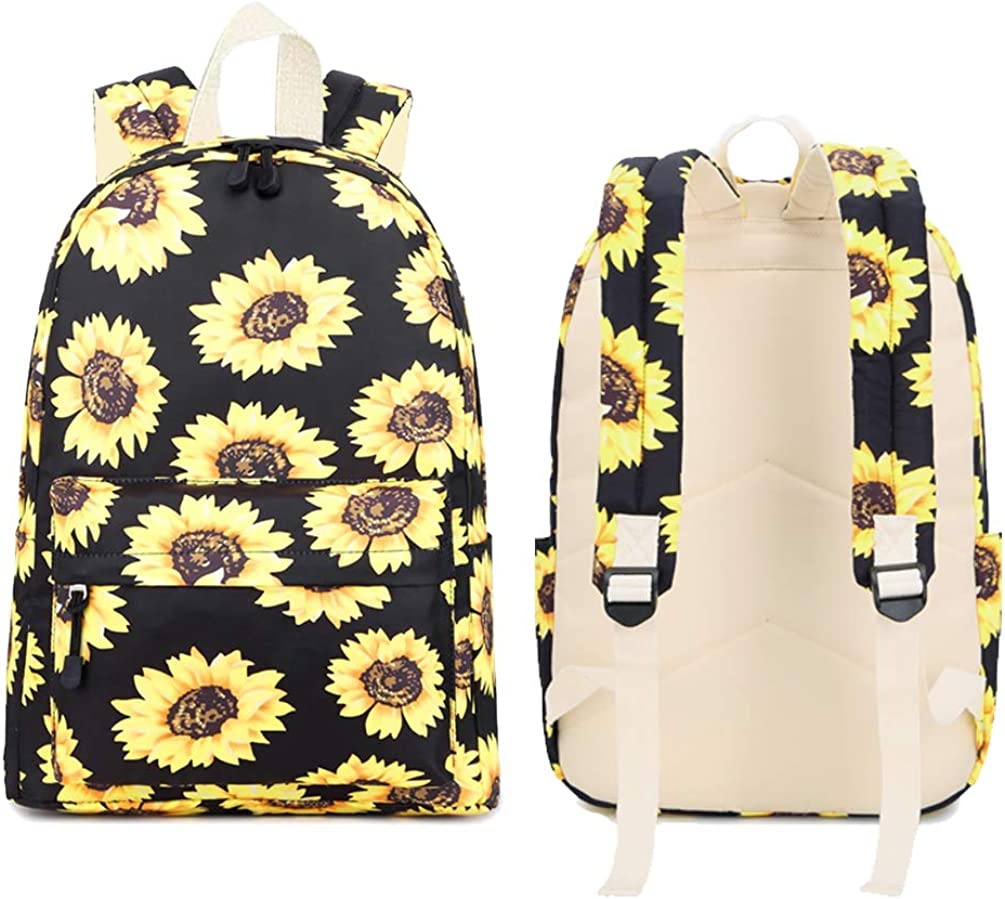 Lightweight Backpack for Girls Sunflower Backpack with Lunch Bag and Pencil Case