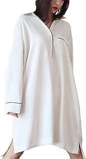 JIANGWEI ディース パジャマ ルームウェア 長袖ネグリジェ ワンピース ワイシャツ ロング丈 春秋夏 フリル ソフト かわいい ファッション
