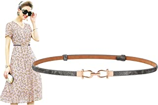 """Fashion Leather Skinny Women Belt Thin Waist Belts for Dresses Up to 37"""" with Interlocking Buckle"""
